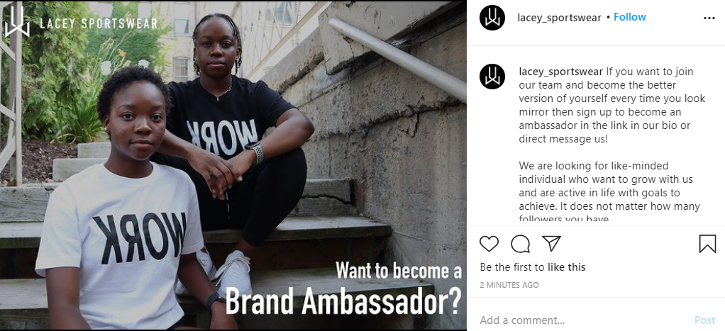 become an ambassador on Instagram